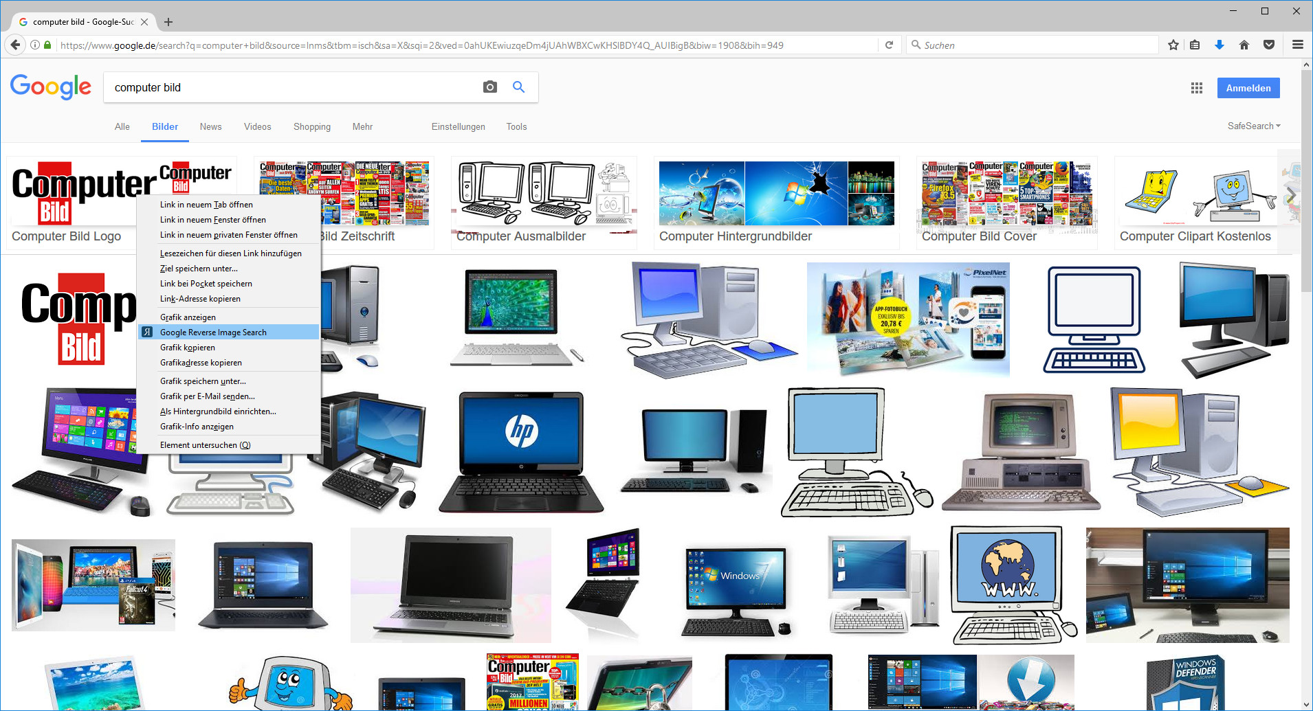 Screenshot 1 - Reverse Image Search für Firefox
