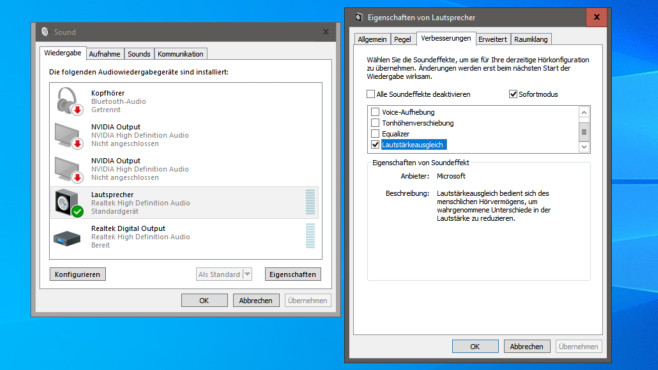Musikdateien normalisieren: Diese Gratis-Tools gleichen Lautstärken an Windows gleicht die Lautstärke des Abspielens an und fasst Ihre Dateien nicht an.©COMPUTER BILD