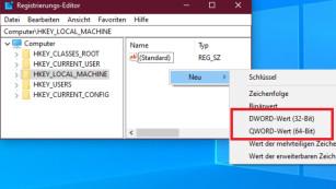 DWORD-Wert (32-Bit) und QWORD-Wert (64-Bit)©COMPUTER BILD