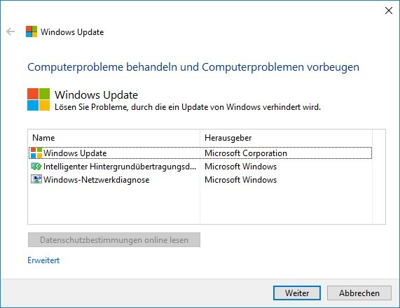 Screenshot 1 - Windows-Update-Problembehandlung (Troubleshooter)