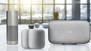 Apple HomePod vs. Amazo Echo Plus vs. Google Home Max©Google, Apple, Amazon, zhu difeng – Fotolia.com