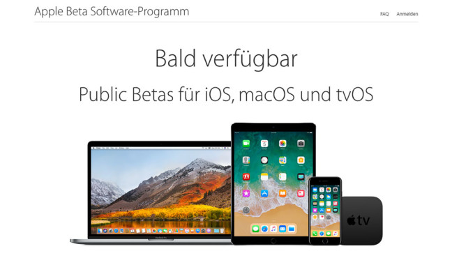 Apple Beta Programm © Screenshot: Apple
