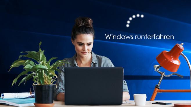 Windows herunterfahren ©Microsoft, iStock.com/NKS_Imagery