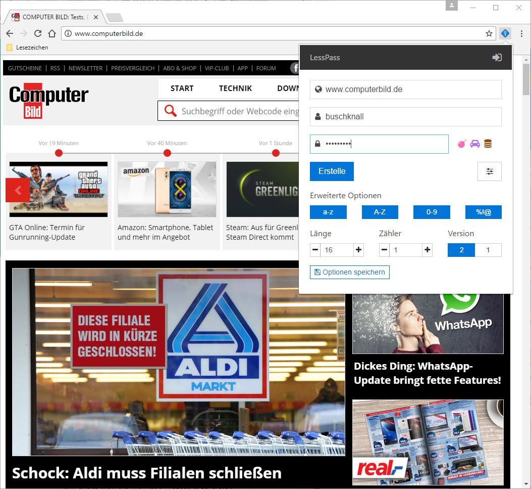 Screenshot 1 - LessPass für Chrome
