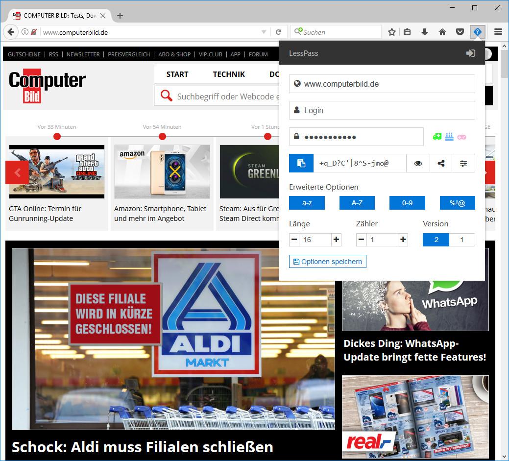 Screenshot 1 - LessPass für Firefox