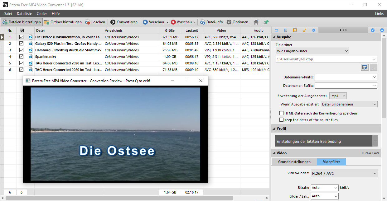 Screenshot 1 - Pazera Free MP4 Video Converter