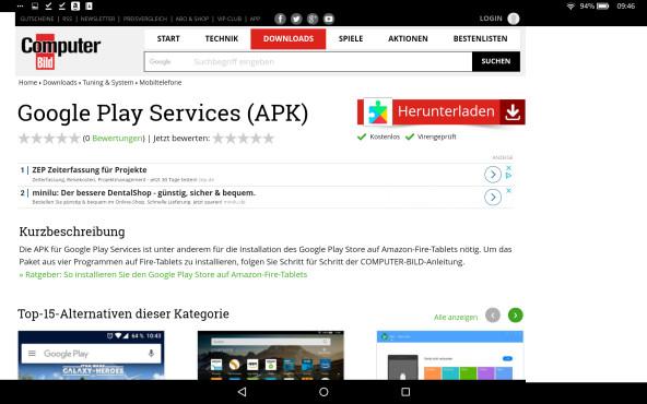Google Play Store auf Amazon Fire Tablet installieren©COMPUTER BILD