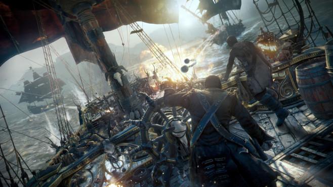 Skull & Bones: Fette Beute auf hoher See Bei den actionreichen Seeschlachten kommt der Spieler schnell ins Schwitzen, besonders wenn das eigene Piratenschiff von mehreren Gegnern gleichzeitig angegriffen wird.©Ubisoft