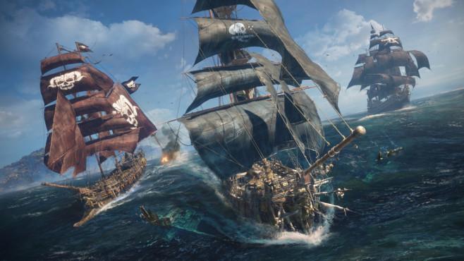 Skull & Bones: Fette Beute auf hoher See In der offenen Spielwelt begegnen Sie anderen Mitspielern und können Allianzen bilden oder auch den Piratenkontrahenten einfach die Beute abjagen.©Ubisoft