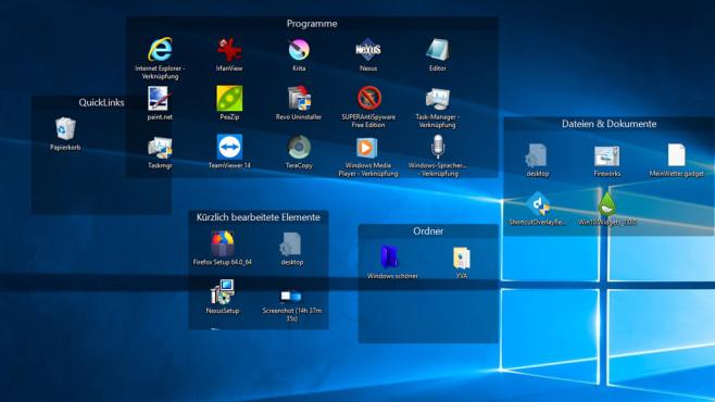 Aufgeräumter Desktop dank Extra-Bereichen ©COMPUTER BILD