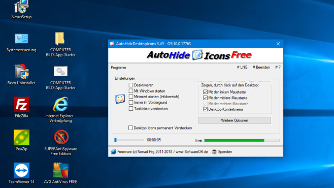 Desktop-Icons verbergen ©COMPUTER BILD