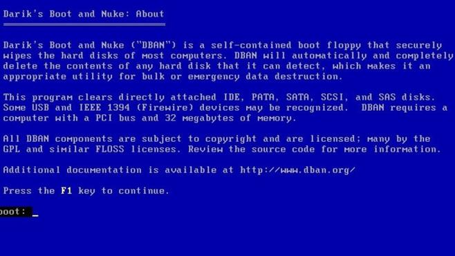 Gegenwehr: DBAN (Darik's Boot and Nuke) ©COMPUTER BILD