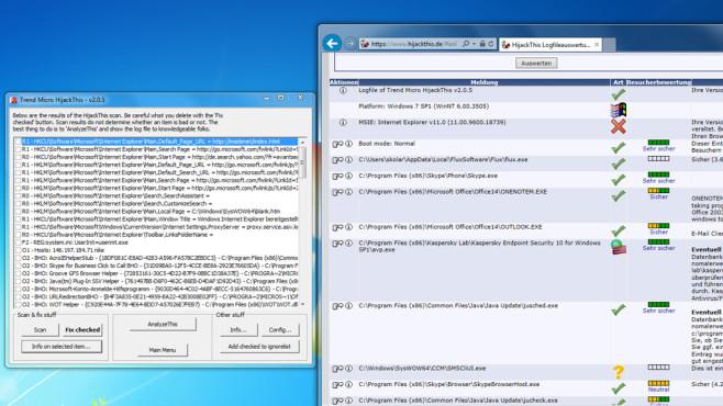 Malware-Check: HijackThis ©COMPUTER BILD
