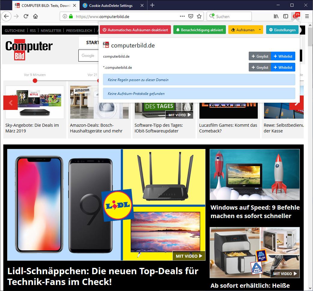 Screenshot 1 - Cookie AutoDelete für Firefox