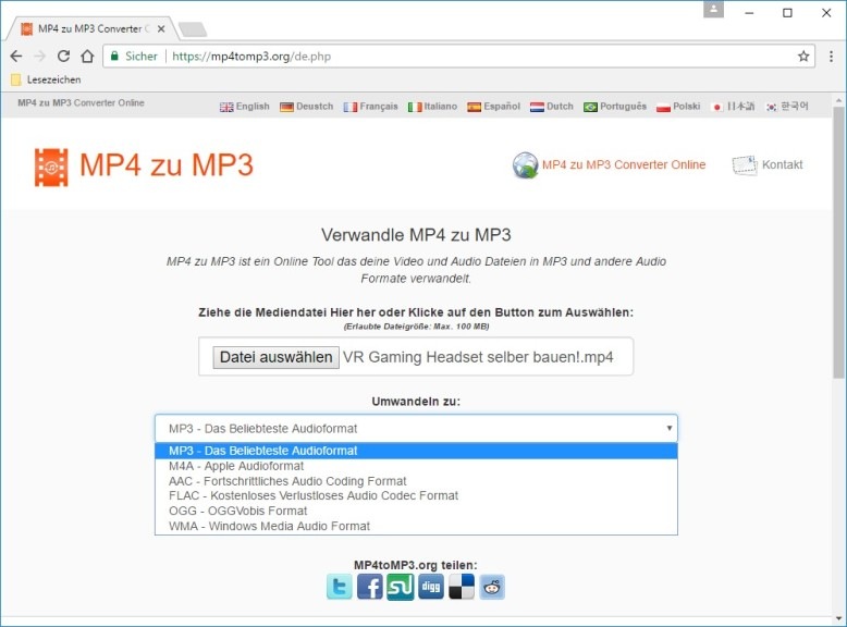 Screenshot 1 - MP4 to MP3 Converter Online