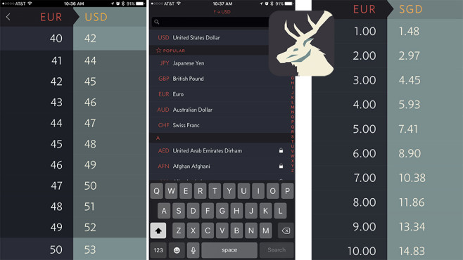 Elk – Reisewährungsrechner ©Clean Shaven Apps