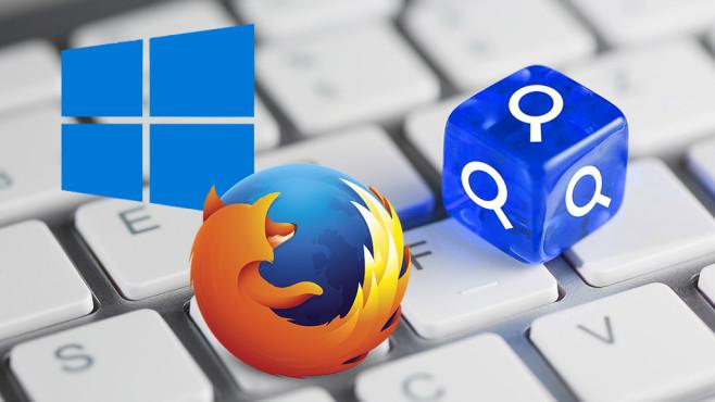 Windows und Firefox: Die clevere Sofortsuche nutzen©Fotolia / Falko Müller - Riesa / Blau farbener / blauer Würfel auf Tastatur