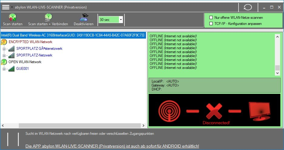Screenshot 1 - Abylon WLAN-Live-Scanner – Kostenlose Vollversion