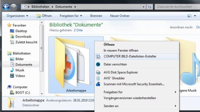 Dateilisten-Ersteller – Ordner-Inhalte als TXT speichern ©COMPUTER BILD