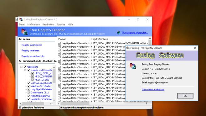Eusing Free Registry Cleaner – Optimierung ©COMPUTER BILD