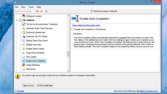 Winaero Tweaker – Betriebssystem konfigurieren ©COMPUTER BILD