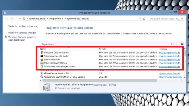 Windows 7/8/10: Systemsteuerung erweitern um eigene Programme©COMPUTER BILD