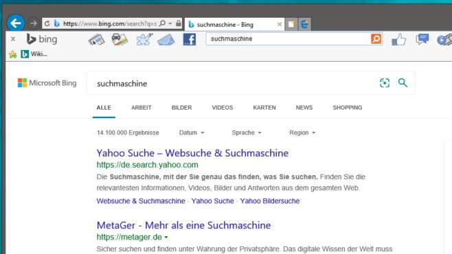 Tipps zu Bing: Mit diesen 30 Kniffen verwenden die Microsoft-Suche effektiver Die Bing Toolbar ist schon älter, aber sie funktioniert noch.©COMPUTER BILD
