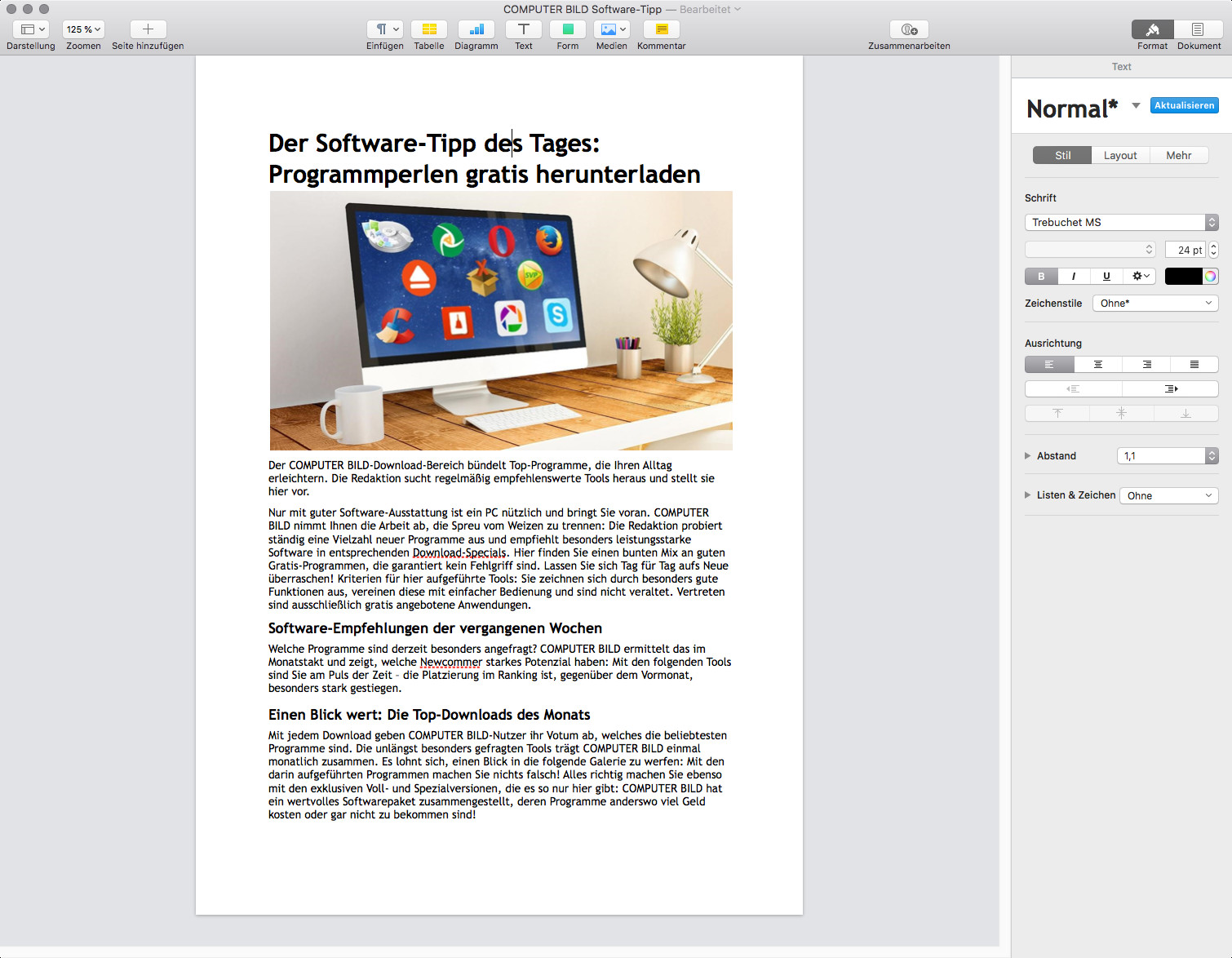 Screenshot 1 - Pages (Mac)