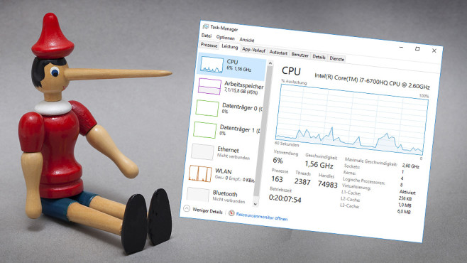 Windows 8/10: Lügt der Task-Manager bei der Betriebszeit?©Fotolia--MUNCH!-pinocchio liar with big nose