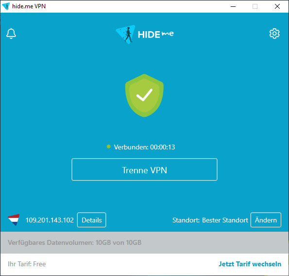 Screenshot 1 - Hide.me VPN