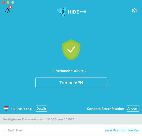 Screenshot 1 - Hide.me VPN (Mac)