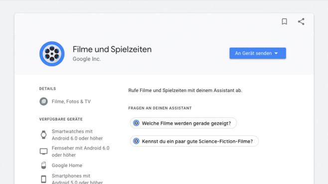 Filme und Spielzeiten ©Google