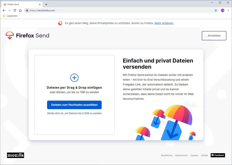 Screenshot 1 - Firefox Send