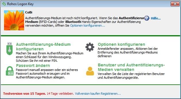 Screenshot 1 - Rohos Logon Key