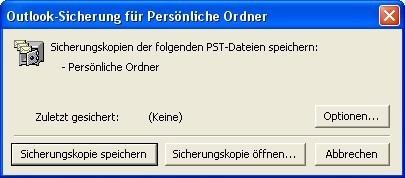 Screenshot 1 - Sicherung für Persönliche Ordner (Outlook)