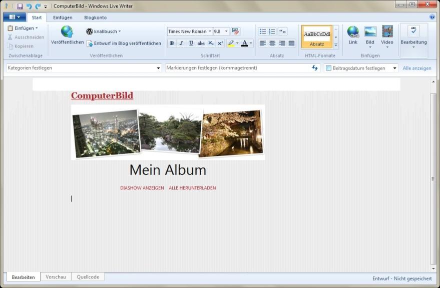 Screenshot 1 - Windows Live Writer 2012