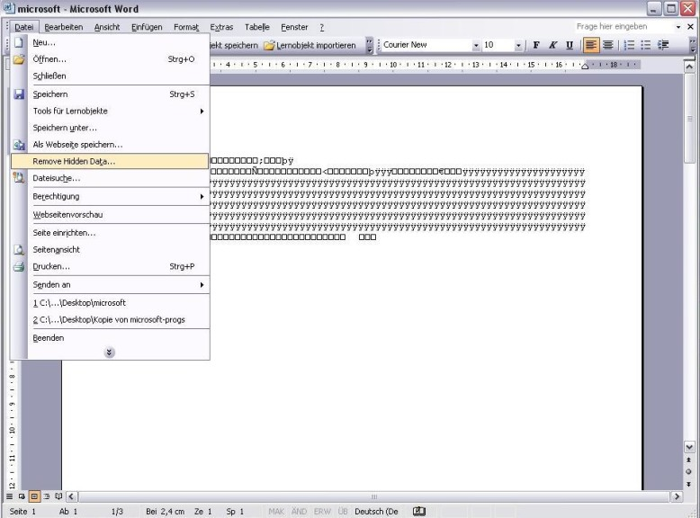 Screenshot 1 - Office 2003/XP-Add-In zum Entfernen verborgener Daten