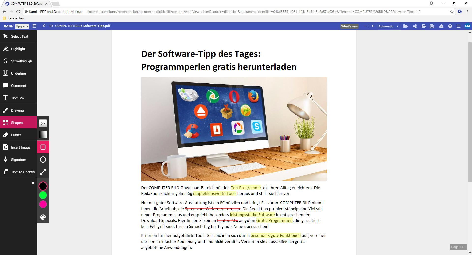 Screenshot 1 - Kami für Chrome (PDF-Dateien online bearbeiten)