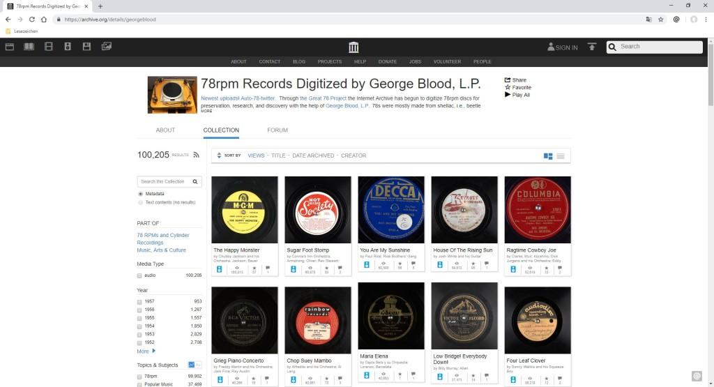 Screenshot 1 - 100.000 digitalisierte Schallplatten kostenlos streamen und herunterladen