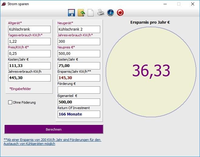 Screenshot 1 - Stromspar-Rechner