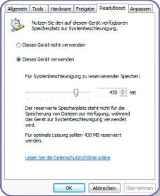 """Hybrid-Festplatten Ähnlich wie eine Hybrid-Festplatte arbeitet die """"Readyboost""""-  Funktion von Windows Vista."""
