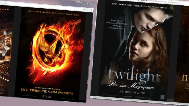 Die Tribute von Panem und Twilight als Poster©COMPUTER BILD / Screenshots http://www.thehungergames.movie sowie www.twilight-saga.de