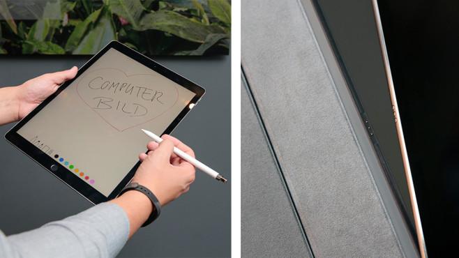 Apple iPad Pro 12,9 (2017) im Test: Man, ist DAS groß, man! Extra-Bonbons gegen Aufpreis erhältlich: Der Apple Pencil (links; 119 Euro) und die Tastatur (179 Euro) verwandeln das iPad Pro in eine Arbeitsmaschine.©COMPUTER BILD