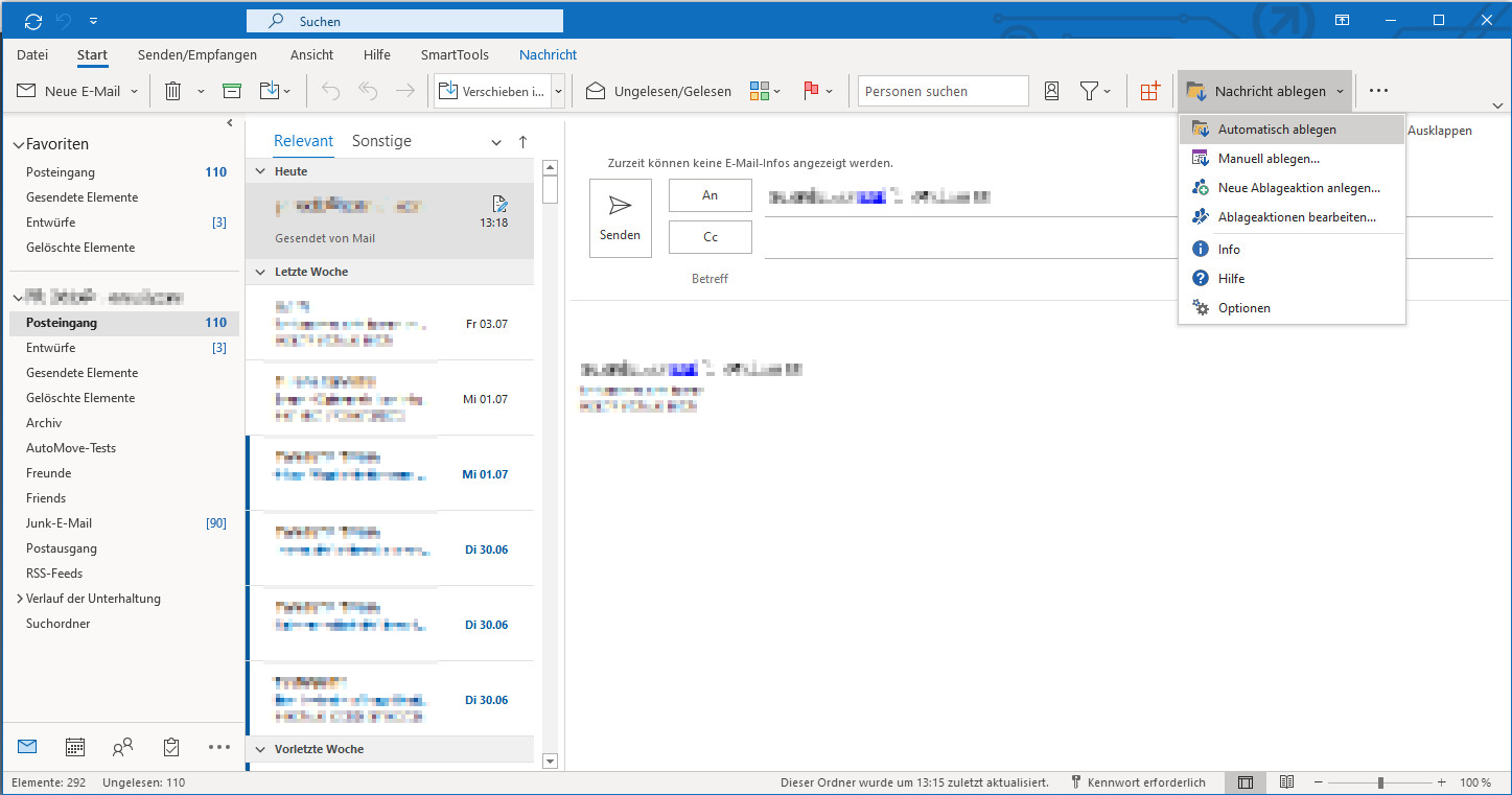 Screenshot 1 - SmartTools AutoMove für Outlook
