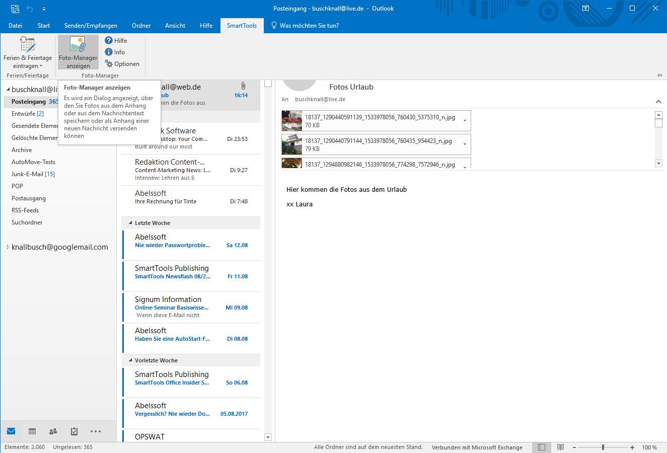 Screenshot 1 - SmartTools Foto-Manager für Outlook