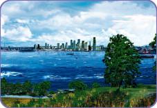 DirectX 10: Das Wasser ist aufgewühlt und wellig und Sonnenstrahlen brechen durch die Wolkendecke.