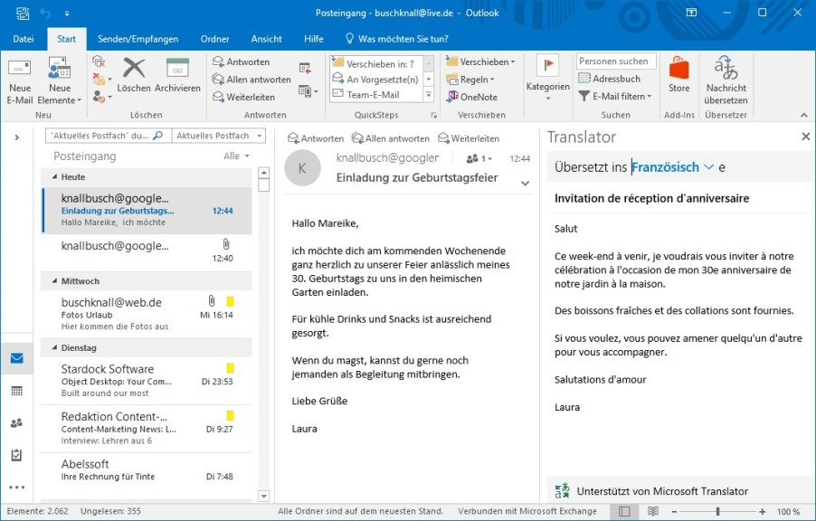 Screenshot 1 - Microsoft Translator für Outlook