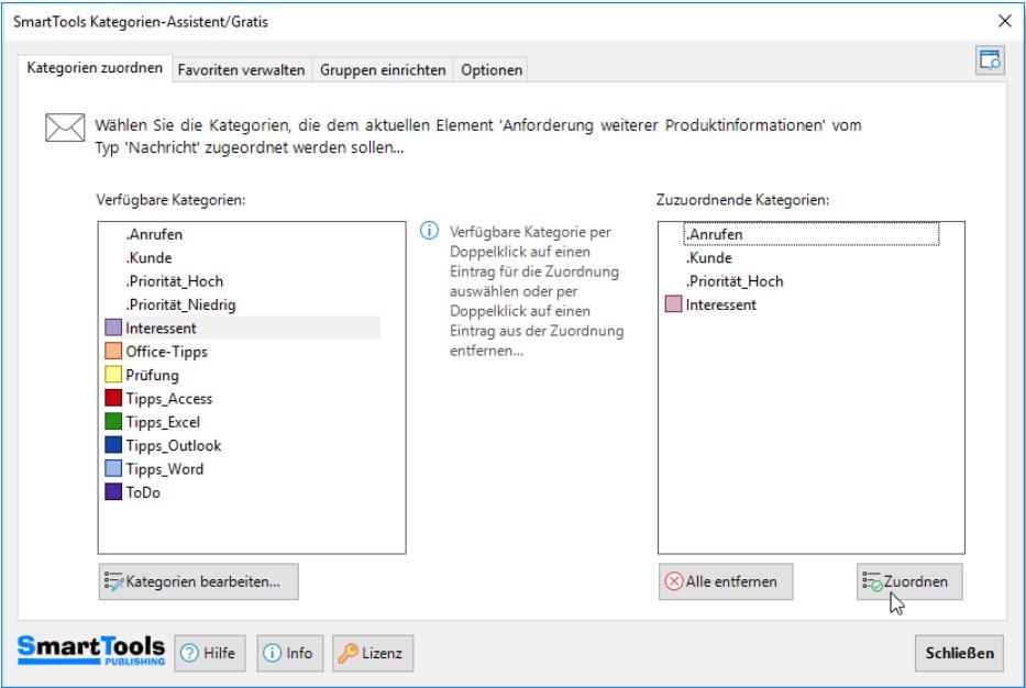 Screenshot 1 - SmartTools Kategorien-Assistent für Outlook