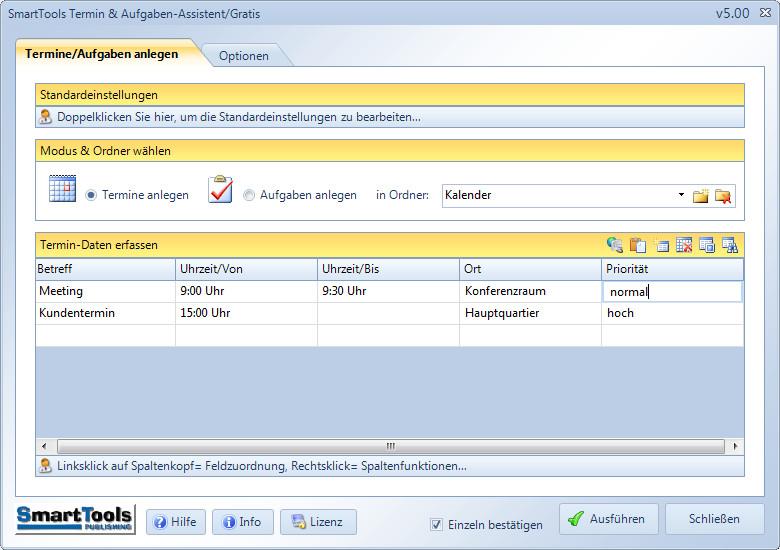 Screenshot 1 - SmartTools Termin- und Aufgaben-Assistent für Outlook