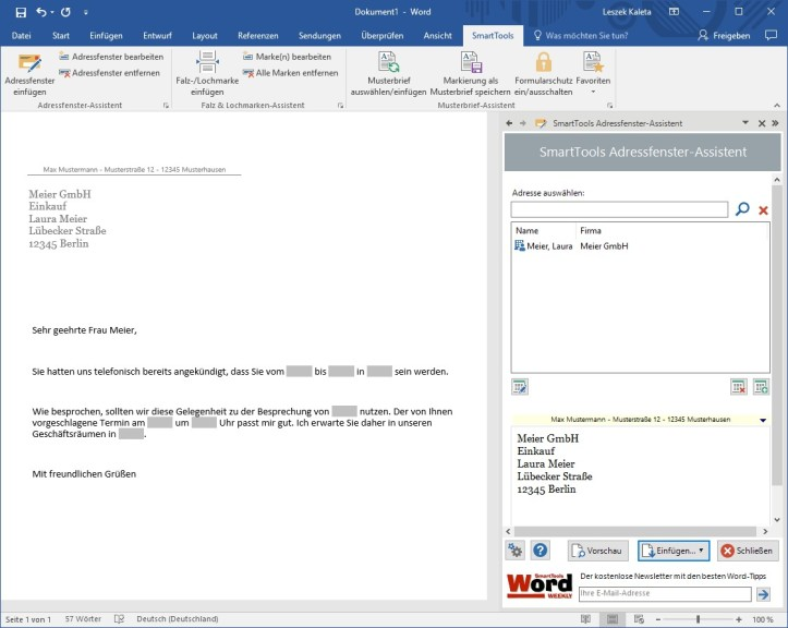 Screenshot 1 - SmartTools Briefassistenten für Word